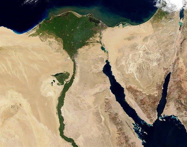 letecký pohled na Egypt